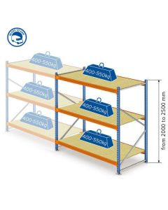 M7 shelving with chipboard extra module